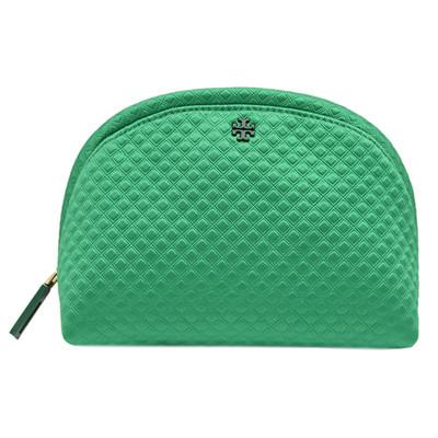 TORY BURCH 浮雕菱格紋織布拉鍊萬用/化妝包-綠色