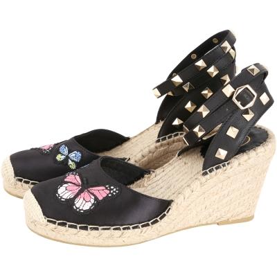 ASH Whitney 蝴蝶貼花鉚釘繫帶楔型草編鞋(黑色)