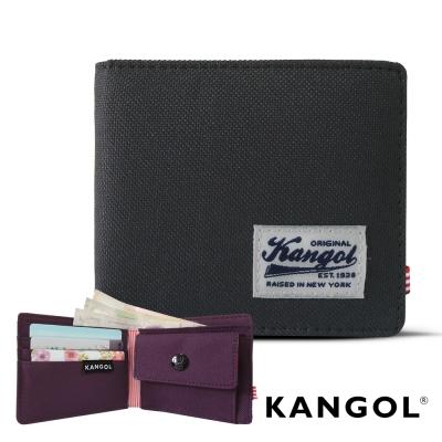 KANGOL 韓式潮流 多夾層/零錢袋橫式短皮夾+鑰匙圈禮盒-帆布撞色紫