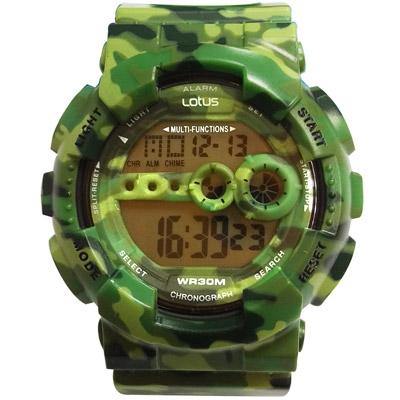 Lotus 迷彩時尚 計時鬧鈴運動錶(TP1340M-04)-軍綠/52mm