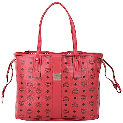MCM Liz Visetos 經典圖騰雙面用購物包(附萬用包/紅色)