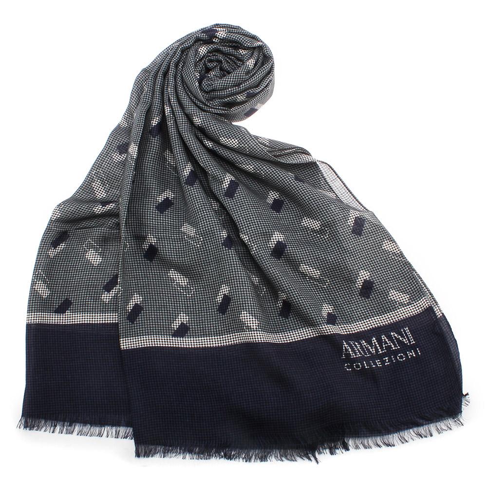 ARMANI COLLEZIONI 滿版千鳥紋幾何綴飾披肩圍巾-藍色