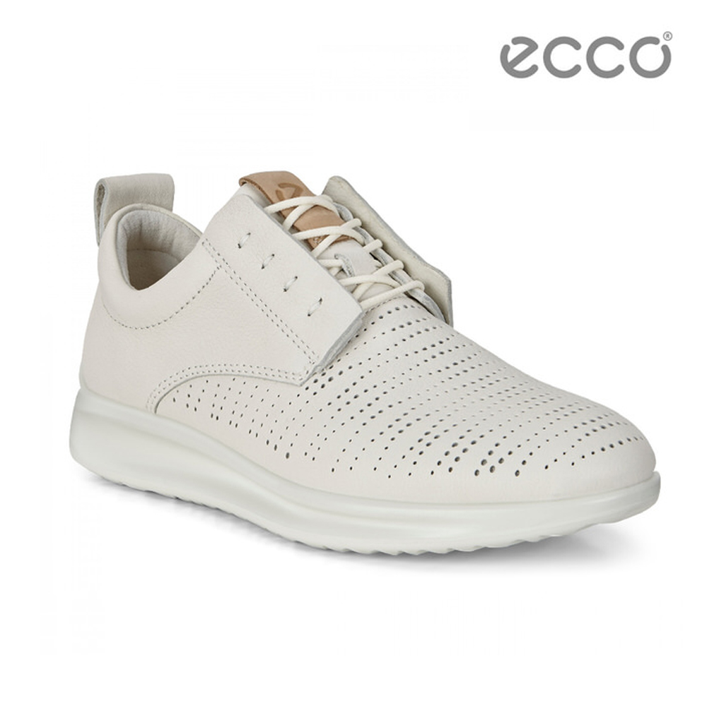 ECCO AQUET 隱藏式鞋帶休閒運動鞋-白