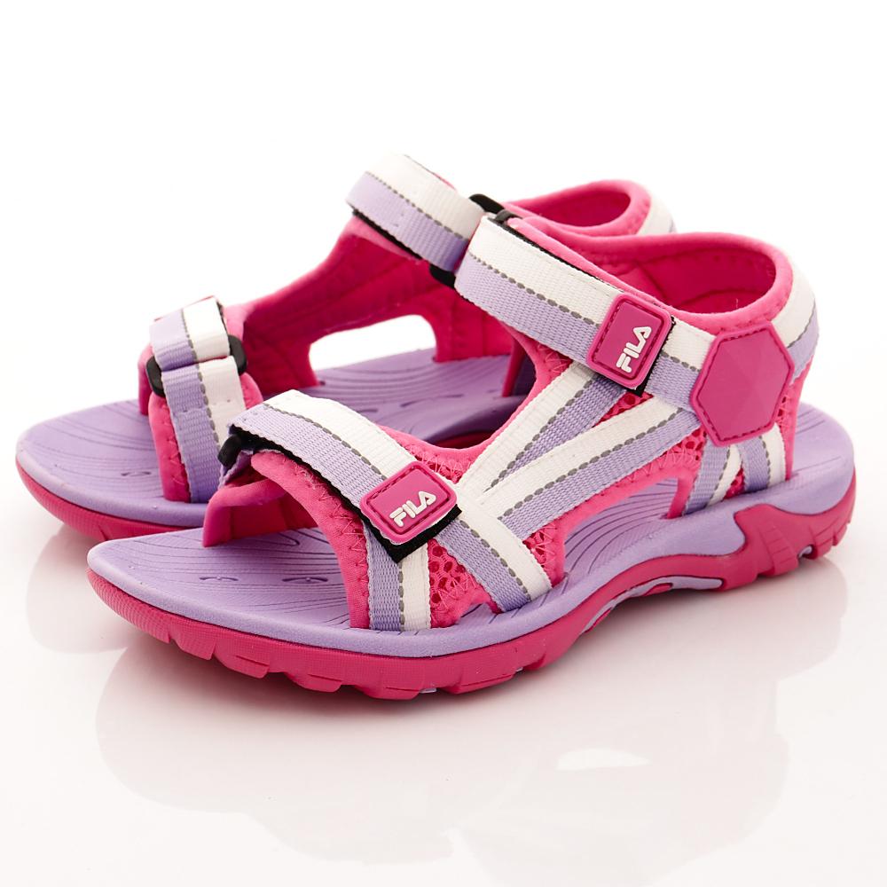 FILA頂級童鞋款-織帶運動涼鞋款-R291桃紫中大童段HN