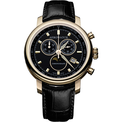 AEROWATCH Rhein 經典三眼計時腕錶-黑x金框/42mm