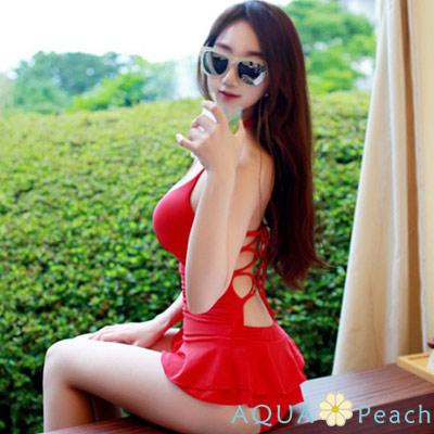 後交叉性感綁帶蝴蝶結一件式連身泳衣 (紅色)-AQUA Peach