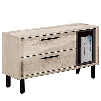 品家居 比多莉1.9尺木紋二抽床頭櫃-57.5x40x45cm免組