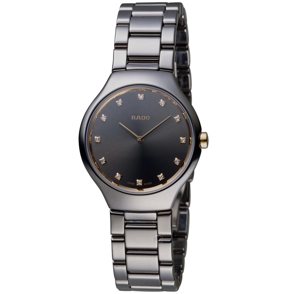雷達錶 RADO True Thinline真薄簡約時尚陶瓷女腕錶-黑/30mm