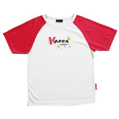 KAPPA義大利小朋友吸濕排汗速乾彩色圓領衫 白 櫻桃紅