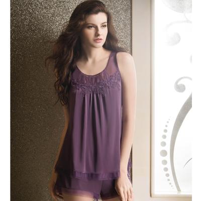 華歌爾睡衣 性感系列 M-L 超細纖維睡衣褲裝  (紫)