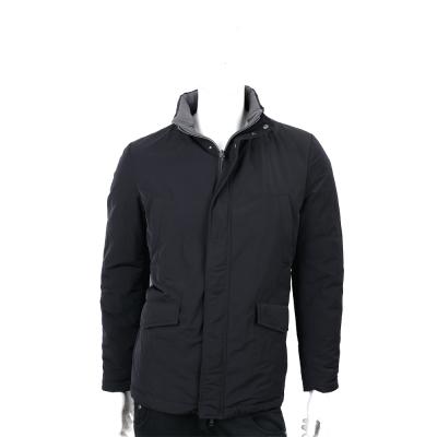 HERNO 絎縫雙面穿黑灰色連帽羽絨夾克(帽可拆)