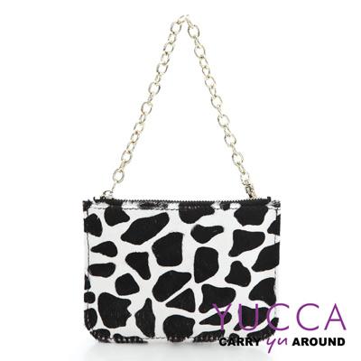 YUCCA -牛皮+馬毛動物紋零錢鑰匙包-黑白色14190011099