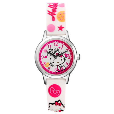 Hello Kitty 玩樂星球造型腕錶-白-KT013LWWW-A/30mm