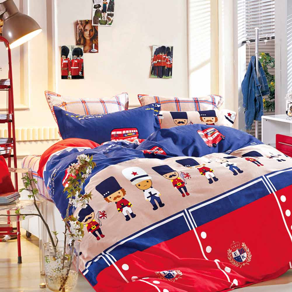 Ania Casa 台灣製 100%純棉 - 雙人床包枕套三件組- 倫敦衛兵