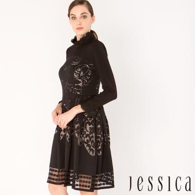 【JESSICA】華美風尚簍空蕾絲修身洋裝(黑)