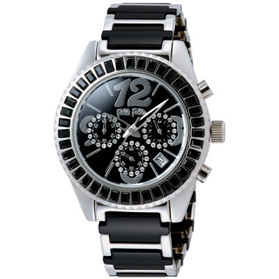 【Folli Follie】絢麗晶鑽計時陶瓷腕錶(黑)