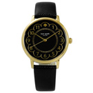 kate spade 紐約時尚花朵綻放百搭真皮手錶 -黑x金 /34mm