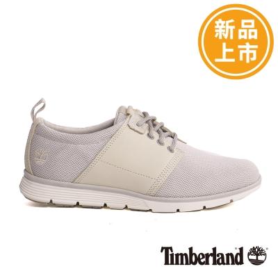 Timberland-女款白色素面綁帶休閒鞋