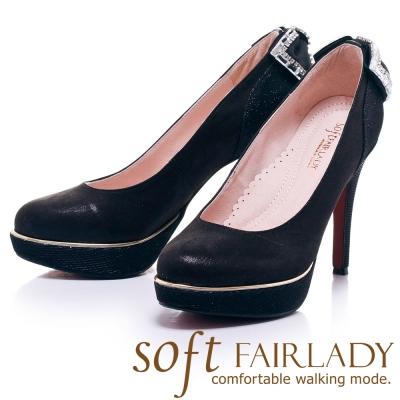 Fair Lady  Soft芯太軟 夜宴水鑽蝴蝶結高跟鞋 黑