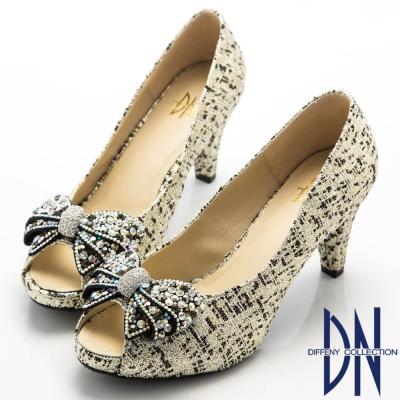 DN-優美細緻-金蔥亮布蝴蝶結水鑽魚口跟鞋-黑