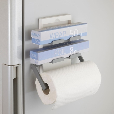 日本Belca磁吸式保鮮膜紙巾架-白彩