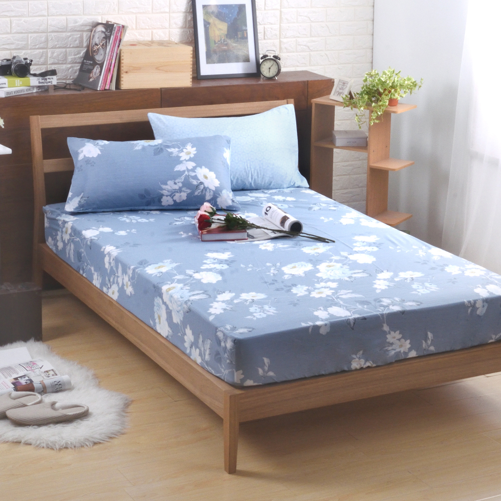 喬曼帝Jumendi-沁藍花香 法式時尚天絲雙人三件式床包組