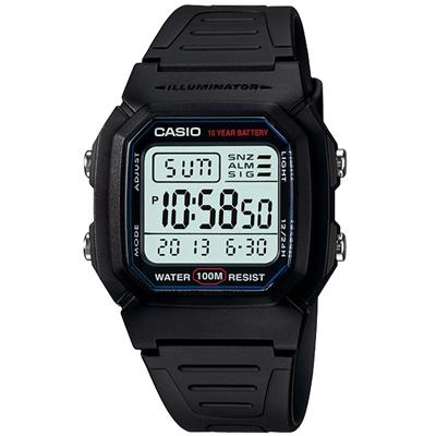 CASIO 10Year黑武士電子錶(W-800H-1A)-黑/36.8mm