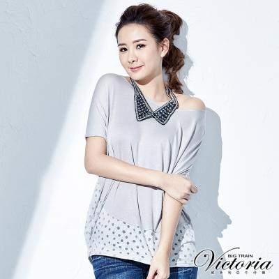 Victoria 燒花拼接落肩袖T-女-灰色