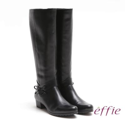 effie-都會風情-素色蠟感真皮低跟長靴-黑