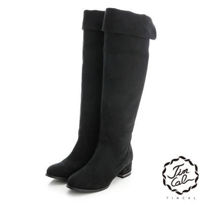 TINCAL-歐洲經典反摺軟布長靴-黑色