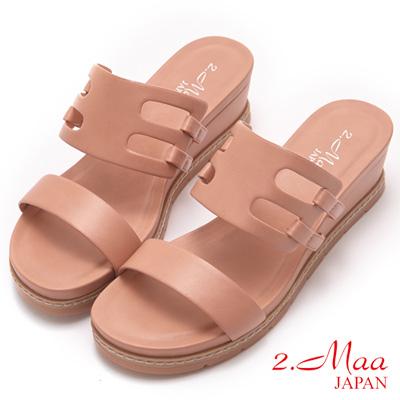 2.Maa-夏季清爽一字簍空楔型拖鞋-梅紅