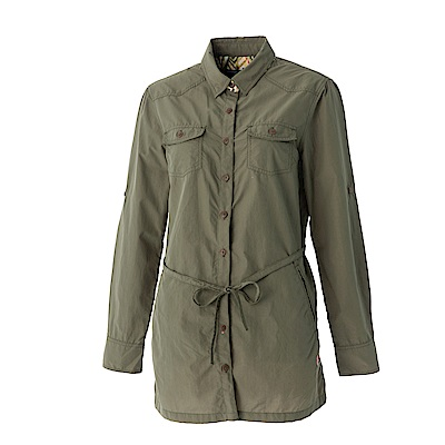 【Wildland 荒野】女抗UV時尚長版襯衫-可可綠