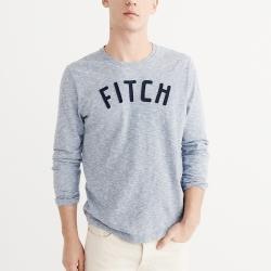 A&F 經典刺繡文字長袖T恤-藍色 AF Abercrombie