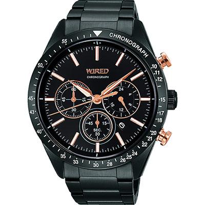 WIRED 東京潮流三眼計時腕錶(AY8004X1)-黑/46mm