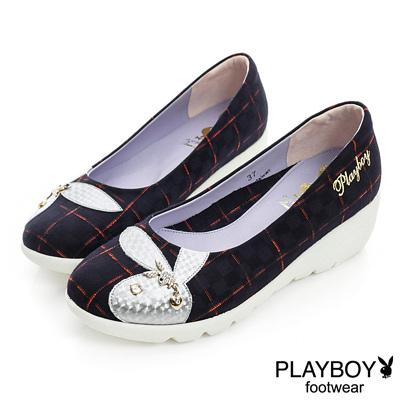 PLAYBOY 英倫時尚 GOPLAY格紋楔型娃娃鞋-黑(女)