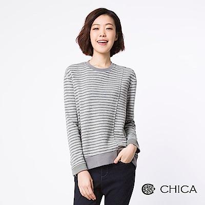 CHICA 率性日常拼接條紋側開岔上衣(1色)