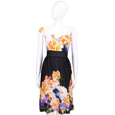CLASS roberto cavalli 黑x白色花卉圖騰拼接設計短袖洋裝