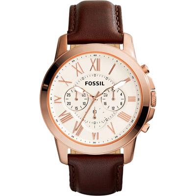 FOSSIL Grant 旗艦三眼計時復刻腕錶-米黃色x咖啡/44mm
