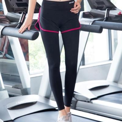 La Belleza瑜伽褲透氣顯瘦滾邊配色假兩件短褲加內搭褲