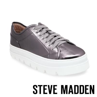 STEVE MADDEN-KICKSTART 純色綁帶厚底鞋-錫色
