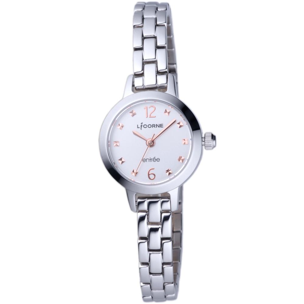 LICORNE 恩萃Entree 小錶徑時尚設計師女腕錶-銀/白-24mm