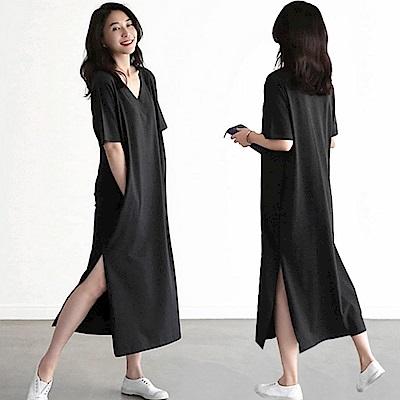 出清La Belleza素面V領側口袋開叉棉質長版洋裝