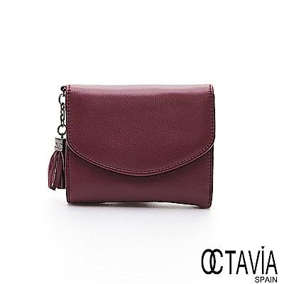 OCTAVIA 8 真皮 - 隨手的自在 牛皮二折式流蘇短夾 - 酒紅