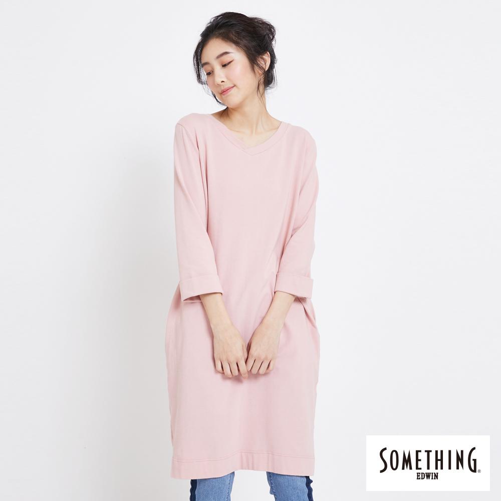 SOMETHING V領七分袖口袋長版T恤-女-粉紅色
