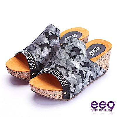 ee9 經典手工鑲嵌金屬鉚釘軟木紋楔形跟拖鞋 黑色