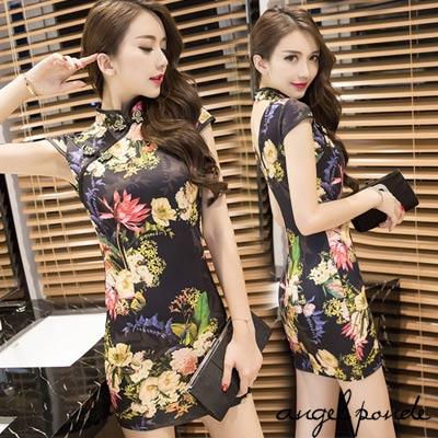 絕代風華性感時尚合身露背旗袍短洋裝-天使波堤