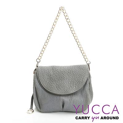 YUCCA - 熱銷款甜美鏈帶羊皮包-灰色-C8033133C37