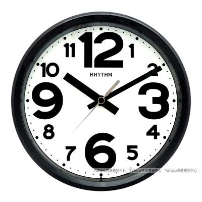 RHYTHM日本麗聲 粉彩風格座掛兩用靜音時鐘-黑白/ 18 cm