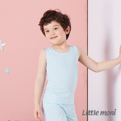 Little moni 涼感系列點點印圖兒童背心 亮天藍
