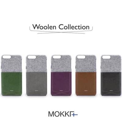 Mokka Iphone 8 英倫風絨布拼接撞色手機保護殼